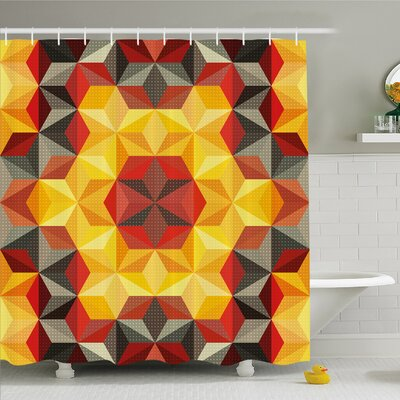 Modern Art Home Psychedelic Design with Geometric Kaleidoscope Diagonal Fractal Star Image Shower Curtain Set Size: 75 H x 69 W