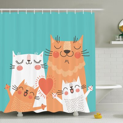Kids Cute Kitty Couple Happy Shower Curtain Set Size: 70 H x 69 W