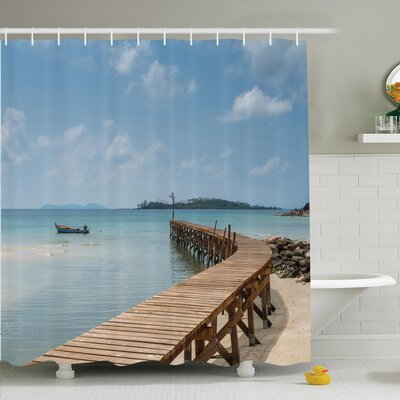 Nautical Wooden Bridge to Sea Shower Curtain Set Size: 75 H x 69 W