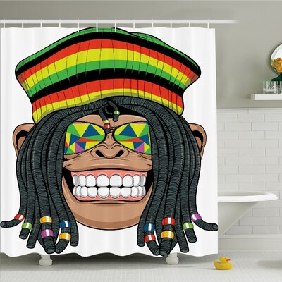 Monkey Hippie Jamaican Animal Shower Curtain Set Size: 75 H x 69 W