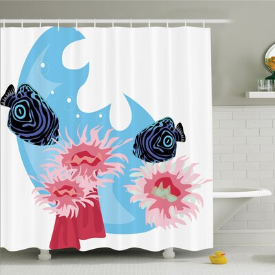 Animal Tropical Fish Cartoon Shower Curtain Set Size: 75 H x 69 W