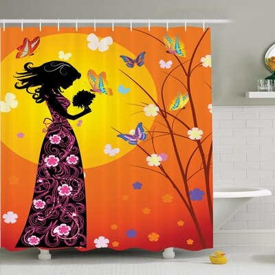 Teen Room Decor Floral Shower Curtain Set Size: 84 H x 69 W