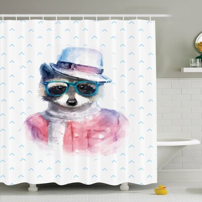 Kids Retro Hipster Raccoon Shower Curtain Set Size: 75 H x 69 W