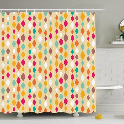 Vintage Retro Colorful Circles Shower Curtain Set Size: 75 H x 69 W