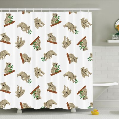 Animal Baby Koala Fun Shower Curtain Set Size: 70 H x 69 W