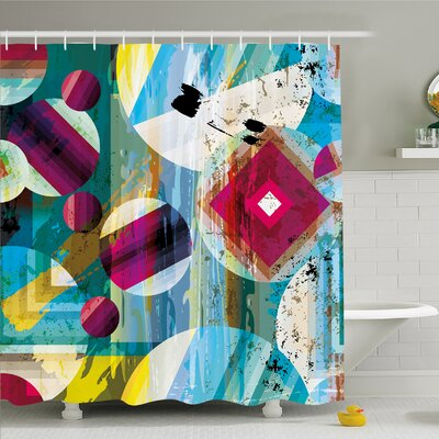 Modern Art Home Vintage Geometric and Circle Shapes Like Outer Space Planets Artprint Shower Curtain Set Size: 70 H x 69 W