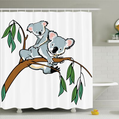 Queenie Koala on Eucalyptus Art Shower Curtain Set Size: 70 H x 69 W