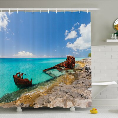 Ocean Ship Wreckage on Peaceful Rock Shore Natural Wonder under Idyllic Bright Sky Shower Curtain Set Size: 70 H x 69 W