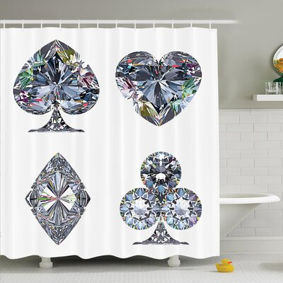 Heart Shaped Diamonds Shower Curtain Set Size: 70 H x 69 W