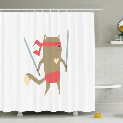 Hillsville Samurai Fighter Shower Curtain Set Size: 84 H x 69 W