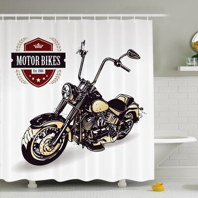 Vintage Old Classic Motorcycle Shower Curtain Set Size: 70 H x 69 W