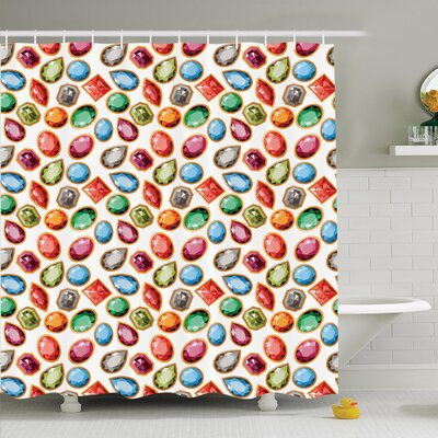 Diamonds Art Shower Curtain Set Size: 70 H x 69 W