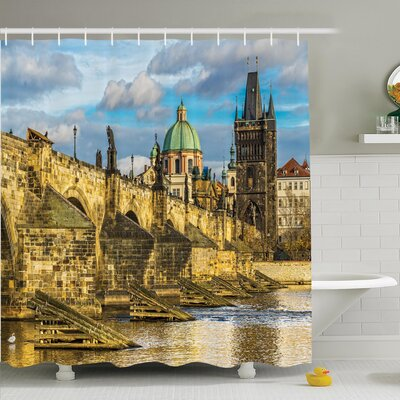 Cityscape Czech Antique Castle Shower Curtain Set Size: 70 H x 69 W