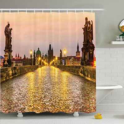 Cityscape Old Town in Prague Shower Curtain Set Size: 75 H x 69 W