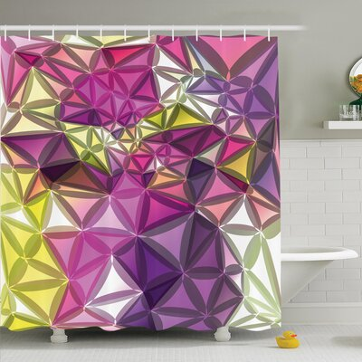 Nathanael Geometrical Shiny Shower Curtain Set Size: 75 H x 69 W