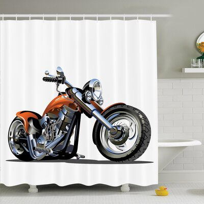 Myaa Motorbike Adventure Shower Curtain Set Size: 70 H x 69 W