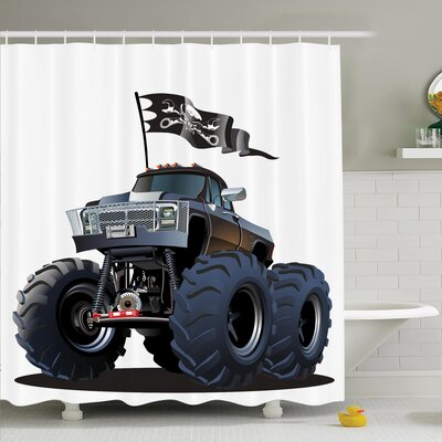 Myaa Monster Truck Pirate Shower Curtain Set Size: 84 H x 69 W