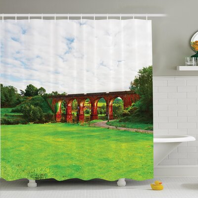 Rustic Decor Old Stone Bridge Shower Curtain Set Size: 84 H x 69 W