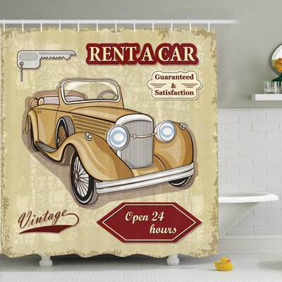 Vintage Old Car Poster Effect Shower Curtain Set Size: 75 H x 69 W
