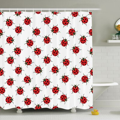 Kids Cute Ladybugs Shower Curtain Set Size: 75 H x 69 W