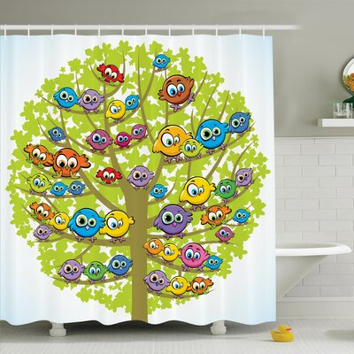 Kids Decor Canary Bird Family Shower Curtain Set Size: 75 H x 69 W