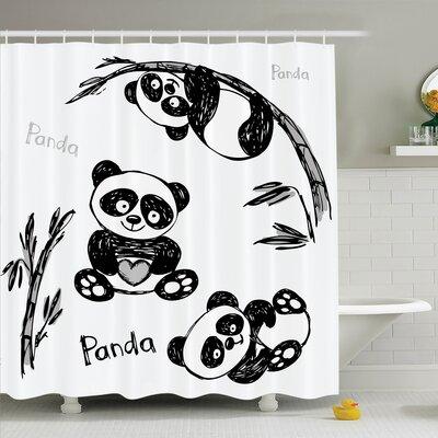 Lizbeth Panda Poses Shower Curtain Set Size: 84 H x 69 W