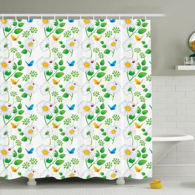 Flower Ladybugs on Chamomiles Shower Curtain Set Size: 84 H x 69 W