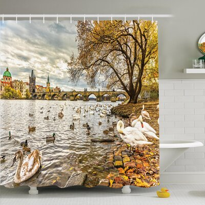 Nature Swimming Swans in River Shower Curtain Set Size: 75 H x 69 W