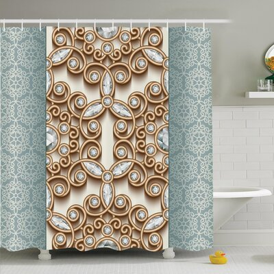 Vintage Diamonds Retro Shower Curtain Set Size: 84 H x 69 W