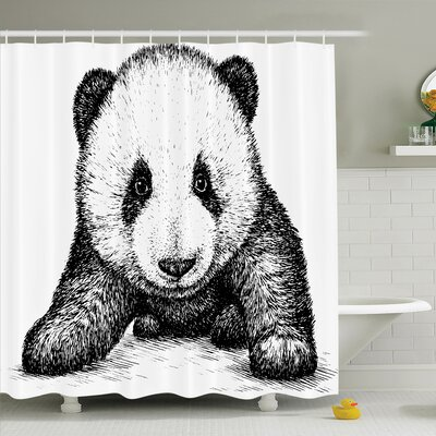Baby Panda Bear Sketch Shower Curtain Set Size: 84 H x 69 W