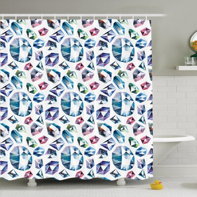 Shining Diamonds Shower Curtain Set Size: 84 H x 69 W