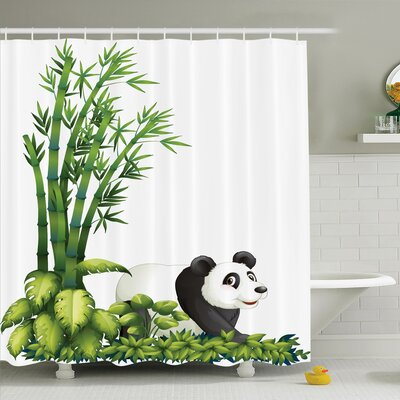 Lizbeth Cute Panda Bear Bamboo Shower Curtain Set Size: 75 H x 69 W