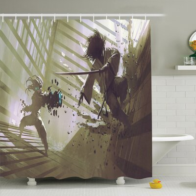 Rick Samurai vs Robot Art Shower Curtain Set Size: 84 H x 69 W