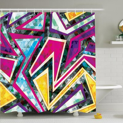 Nathanael Geometric Diamond Shower Curtain Set Size: 84 H x 69 W