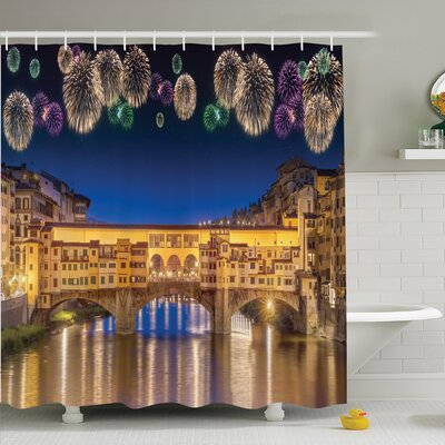 Cityscape Night Panoramic Shower Curtain Set Size: 84 H x 69 W