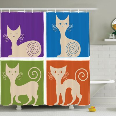 Kids Decor Cartoon Cats Shower Curtain Set Size: 70 H x 69 W
