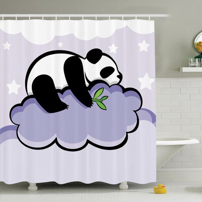 Haysi Sleeping Panda on Cloud Shower Curtain Set Size: 70 H x 69 W