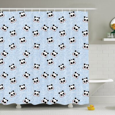 Gretna Funny Cartoon Panda Baby Shower Curtain Set Size: 84 H x 69 W
