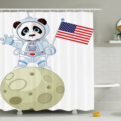 Panda Astronaut Cartoon Shower Curtain Set Size: 75 H x 69 W
