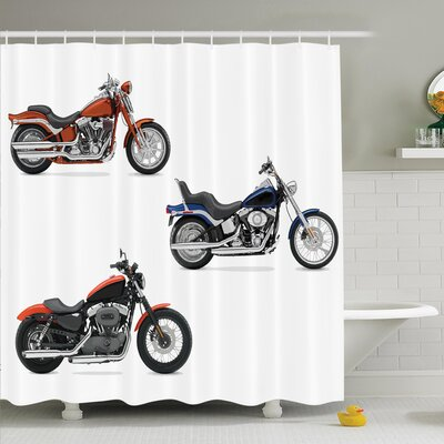 Motorcycle Hippie Style Travel Shower Curtain Set Size: 75 H x 69 W