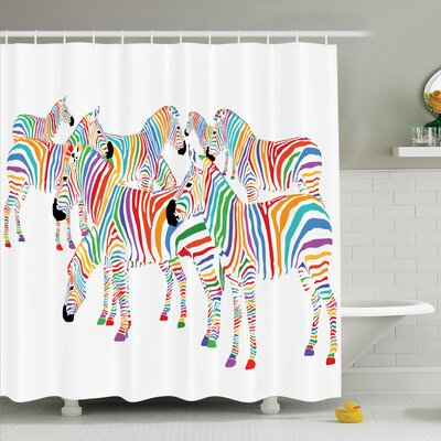 Zebra Decor Animal Shower Curtain Set Size: 75 H x 69 W