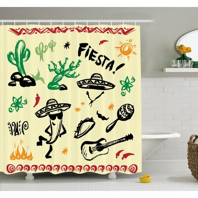 Mexican Popular Hispanic Objects with Fiesta Taco Guitar Cactus Plant Nachos Print Shower Curtain Set Size: 75 H x 69 W