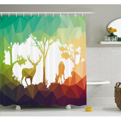 Wildlife Fractal Deer Family Geometric Cut Shapes Hunt Adventure Themed Desert Eco Graphic Shower Curtain Set Size: 70 H x 69 W