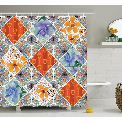 Farm House Patchwork with Heart and Swirling Flower Pattern with Folkloric Feminine Details Shower Curtain Set Size: 70 H x 69 W