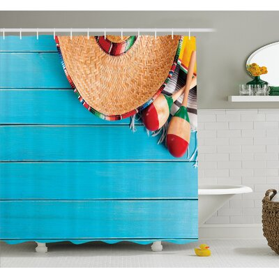 Mexican Native Latin Elements with Sombrero and Maracas on Wood Background Shower Curtain Set Size: 75 H x 69 W
