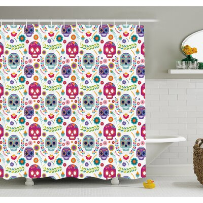 Mexican Different Latin Sugar Skull with Flower and Branch Figures Artwork Shower Curtain Set Size: 84 H x 69 W