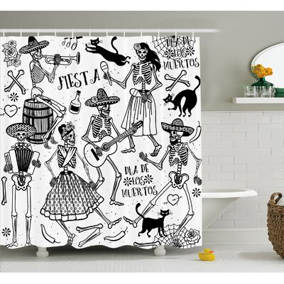 Mexican Dead Dancers Themed Skeleton Icon Playing Music Design Shower Curtain Set Size: 84 H x 69 W