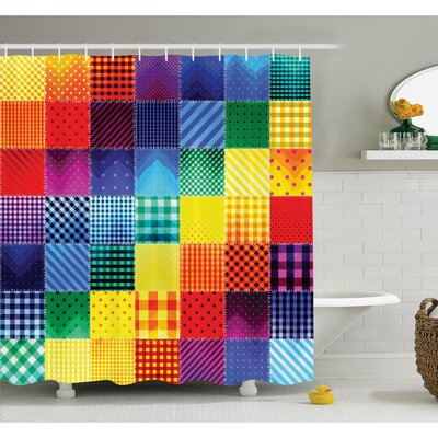 Farm House Rainbow Colored Square Shaped Diverse Patterns with Diagonal Forms Shower Curtain Set Size: 70 H x 69 W