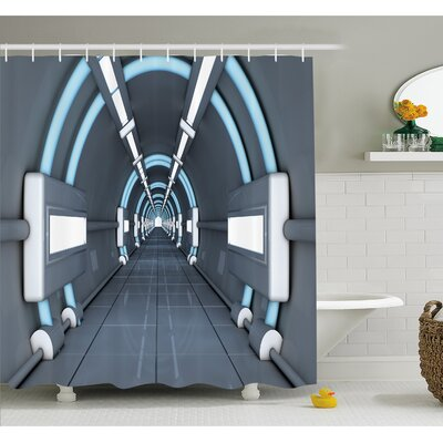 Outer Space Fantastic Inner View of Rocket Structure Cyber Hallway Trip to Dark Matter Shower Curtain Set Size: 75 H x 69 W