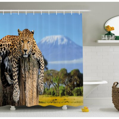 Wildlife Leopard Sitting on Tree Trunk with Mountain Range Journey Up Kilimanjaro Scene Shower Curtain Set Size: 75 H x 69 W